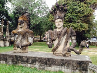 Funny Religious Statues in Buddha Park, Laos
