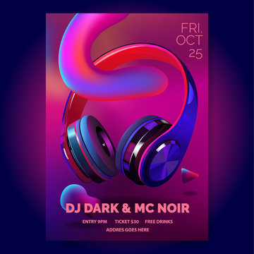 Club poster with headphones, dance party, fluid design flyer, invitation, banner template, dj music event, colorful dark blue and red headphones, vector illustration