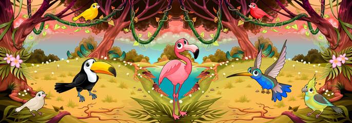 Foto op Plexiglas Kinderkamer Family of cartoon birds in the jungle