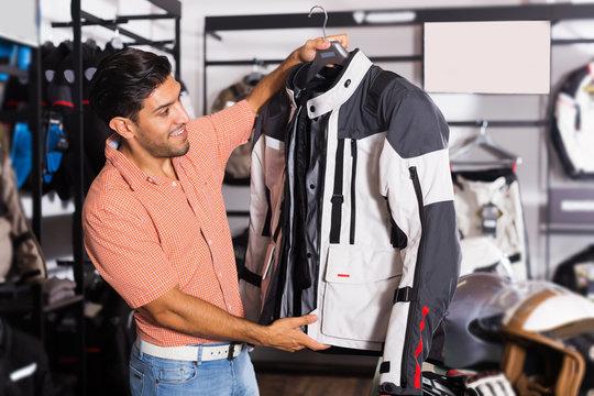 customer is choosing modern jacket
