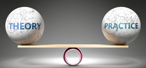 Theory and practice in balance - pictured as balanced balls on scale that symbolize harmony and equity between Theory and practice that is good and beneficial., 3d illustration