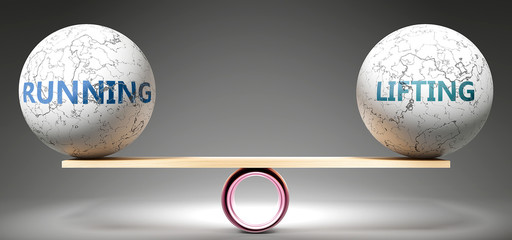 Running and lifting in balance - pictured as balanced balls on scale that symbolize harmony and equity between Running and lifting that is good and beneficial., 3d illustration
