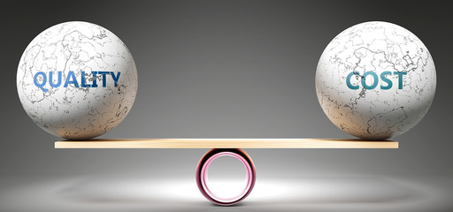Quality and cost in balance - pictured as balanced balls on scale that symbolize harmony and equity between Quality and cost that is good and beneficial., 3d illustration
