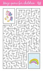 Help unicorn find path to rainbow bridge through the labyrinth. Maze game