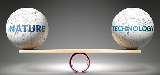 Nature and technology in balance - pictured as balanced balls on scale that symbolize harmony and equity between Nature and technology that is good and beneficial., 3d illustration