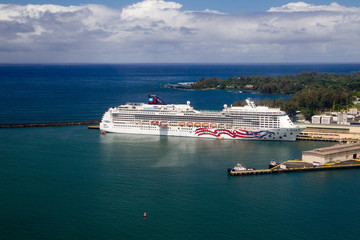 Aerial view of the cruise ship Pride of America in the harbor of Hilo on Big Island, Hawaii, USA.