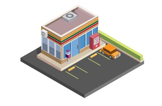 convenience store isometric,shop, 24 hour, illustration vector design