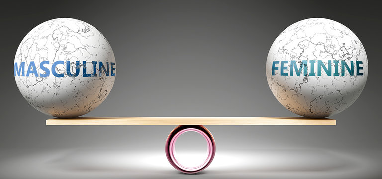 Masculine and feminine in balance - pictured as balanced balls on scale that symbolize harmony and equity between Masculine and feminine that is good and beneficial., 3d illustration