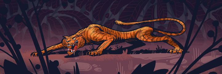 Hungry tiger on a hunt