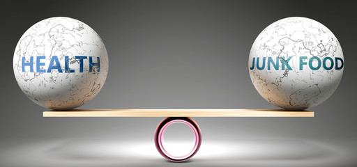 Health and junk food in balance - pictured as balanced balls on scale that symbolize harmony and equity between Health and junk food that is good and beneficial., 3d illustration
