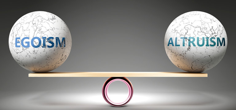 Egoism and altruism in balance - pictured as balanced balls on scale that symbolize harmony and equity between Egoism and altruism that is good and beneficial., 3d illustration