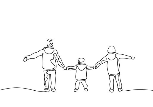 Continuous one line drawing of three kids holding hands and playing. Childhood act of kindness theme. Children concept of brother and sister member of family.