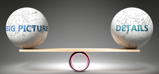 Big picture and details in balance - pictured as balanced balls on scale that symbolize harmony and equity between Big picture and details that is good and beneficial., 3d illustration