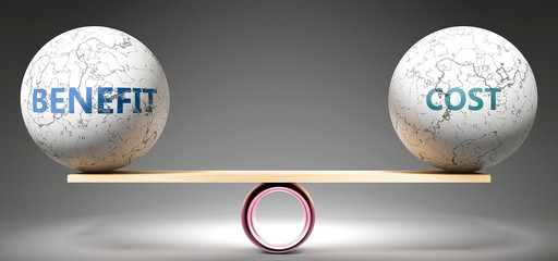 Benefit and cost in balance - pictured as balanced balls on scale that symbolize harmony and equity between Benefit and cost that is good and beneficial., 3d illustration