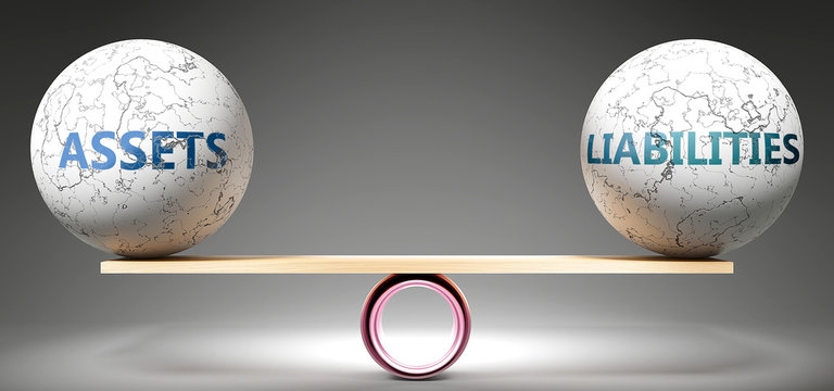 Assets and liabilities in balance - pictured as balanced balls on scale that symbolize harmony and equity between Assets and liabilities that is good and beneficial., 3d illustration