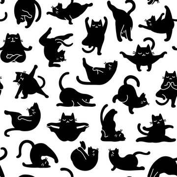 Cartoon Doodle Comic Vector Seamless Tileable Pattern And Background  Of Zen Meditating Black Cats In Yoga Pose and Asana, Namaste