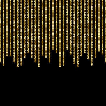 Gold Sequins Vector Luxury Seamless Border. Holiday Striped Background