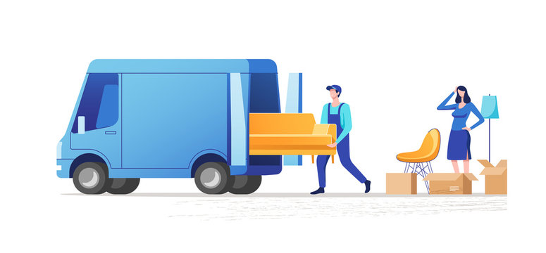 Moving house. Woman packing stuff to move to new house or apartment. Men carrying sofa. Vector illustration.
