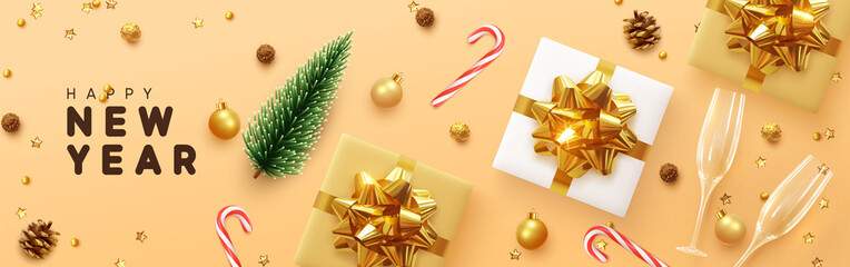 Fotomurales - Happy New Year banner, Xmas sparkling gold star with gifts box and golden tinsel realistic glasses. Horizontal Christmas posters, greeting cards, headers, website. Objects viewed from above. Flat lay