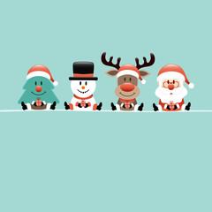 Wall Mural - Quadrat Karte Weihnachtsbaum Schneemann Rentier und Weihnachtsmann Türkis