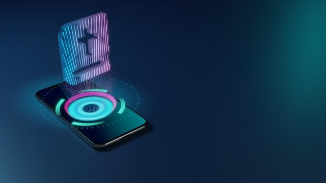 3D rendering neon holographic phone symbol of bible icon on dark background