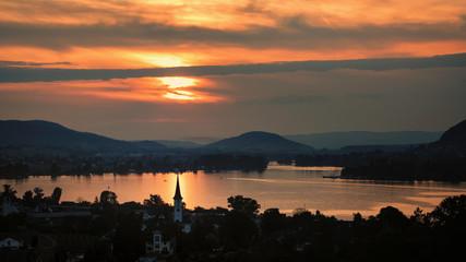 Sonnenuntergang Mammern mit Blick nach Stein am Rhein