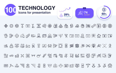 100 Technology line icon for presentation. Included icons as report,AI, smart life, digital, data and more.