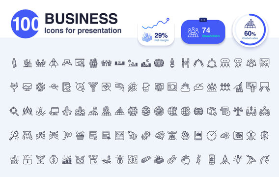 100 Business line icon for presentation. Included icons as Businessman, graph,staff, finance, economy, graph and more.