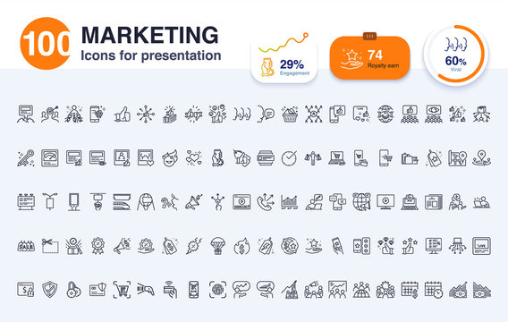 100 Marketing line icon for presentation. Included icons as social media, digital marketing, advertise, report, data and more.
