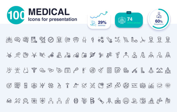 100 Medical line icon for presentation. Included icons as report,biotechnology, hospital, health, data and more.