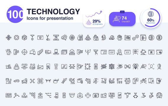 100 Technology line icon for presentation. Included icons as report, AI, smart life, digital, data and more.