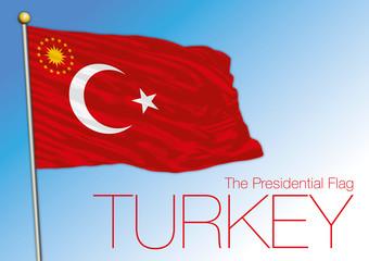 Turkey presidential flag and emblem, vector illustration