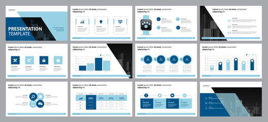 Obraz  business presentation design template and page layout design for brochure, annual report with info graphic  elements design concept - fototapety do salonu