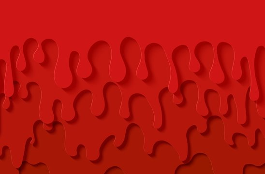 Red slime abstract background in paper cut style. Layers jam of flow down. Viscous liquid flowing down the wall. Papercut silhouette strawberry drops. Vector card illustration.