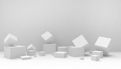 Podium Ideas  Inspiration Modern Concept  composition Geometric Box shape and artistic exhibit minimal and Modern on Gray background - 3d rendering