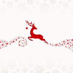Wall Mural - Fliegendes Rentier Mit Stern Schaut Zurück Schneeflocken Rot Beige