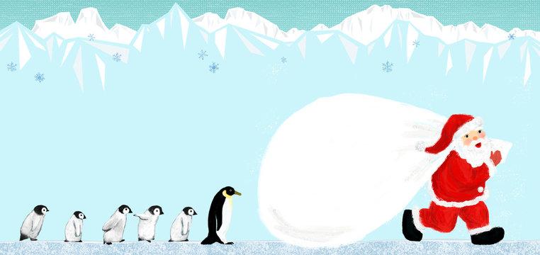 Santa Claus with penguins family サンタクロースとペンギンファミリー