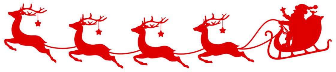 Wall Mural - Roter Weihnachtsschlitten Und Vier Fliegende Rentiere Sterne Gebogen