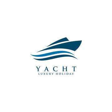Yacht logo design vector template