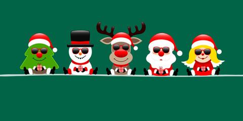 Wall Mural - Banner Weihnachtsbaum Schneemann Rentier Santa Und Engel Sonnenbrille Dunkelgrün
