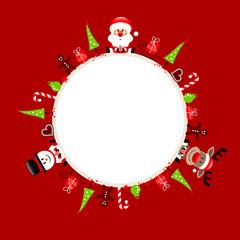 Wall Mural - Weihnachten Rahmen Santa Rentier Und Schneemann Icons Rot