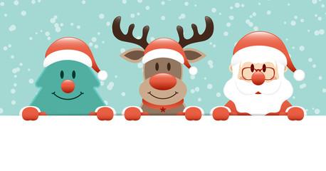 Wall Mural - Weihnachtsbaum Rentier Und Weihnachtsmann Banner Schnee Türkis