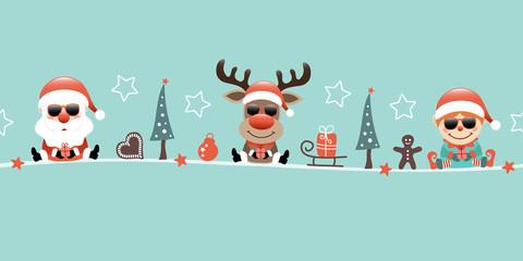 Wall Mural - Banner Santa Rentier Und Elf Sonnenbrille Weihnachten Icons Türkis