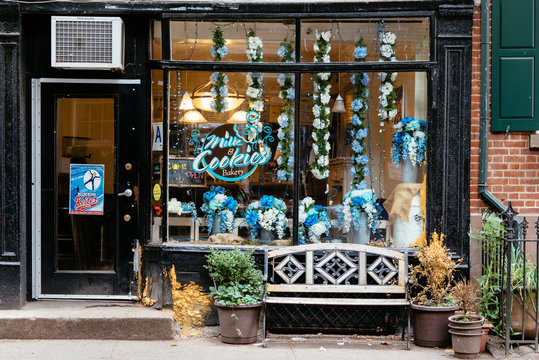 Milk and cookies, a picturesque bakery shop in Greenwich Village in New York City