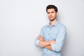 Turned photo of focused business man manager cross his hands ready to solve work problems in company wear casual style outfit isolated over grey color background