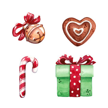 hand drawn watercolor illustration clip art set of heart shaped gingerbread, jingle bell, candy cane and gift box with red bow isolated on white - christmas, celebration and winter holidays