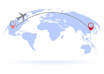 Flight from USA to China above world map. Airplane arrives to China. The world map. Airplane line path. Vector illustration. EPS 10