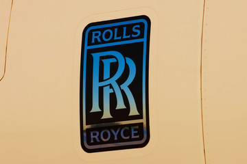 Rolls Royce plane dealership logo. Russia, Moscow 29 august 2019.