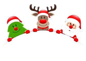 Wall Mural - Weihnachtsbaum Rentier und Santa Halten Rundes Banner