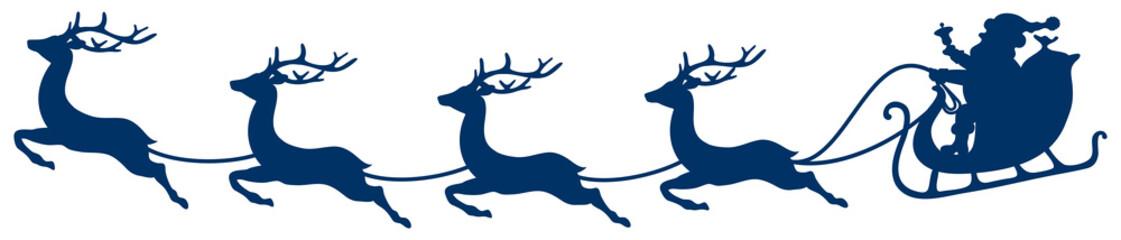 Wall Mural - Dunkelblauer Weihnachtsschlitten Und Vier Fliegende Rentiere Gebogen
